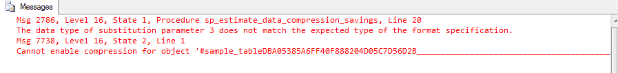 Trying to enable compression in SQL Server standard edition